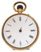 An 18K gold open faced fob watch