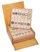 A collection of prepared microscope slides
