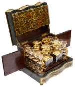 A 19th c. Fr. ebonised and red boulle work tabletop decanter box