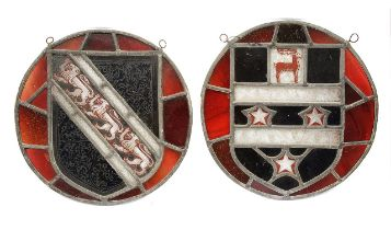 Two armorial leaded stained glass roundels c.1900