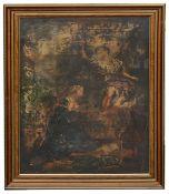 Northern Italian School, early 18th c. 'The Annunciation', oil on canvas, modern frame., glazed