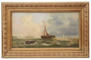 Attrib. to William Broome (Brit., 1838-92) 'Sailing in a strong breeze off Ramsgate' oil on canvas