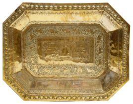An early 20th century Indian brass tray,