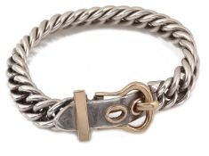 A vintage Hermes silver and gold boucle sellier bracelet