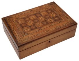 A 19th century fruitwood parquetry work box,