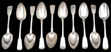 A set matched of ten, George III / IV silver fiddle pattern desert spoons