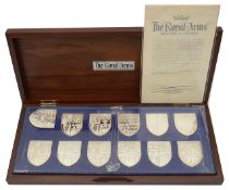 The Royal Arms, a set of twelve silver shield shaped ingots