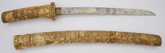A Japanese Meiji period bone tanto c.1900