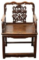 A 19th century Chinese carved hardwood open armchair