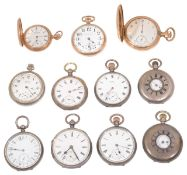 A collection of silver and gold plated pocket watches