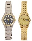 A Seiko Kinetic Titanium stainless steel wristwatch and a Seiko 5 gold plated date just wristwatch