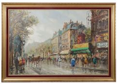 Salvadore Demone (Italian, b.1928) 'Parisian street scene with the Moulin Rouge', oil on canvas
