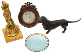 A small collection of vertu to include a continental silver-gilt and guilloche enamel pin dish