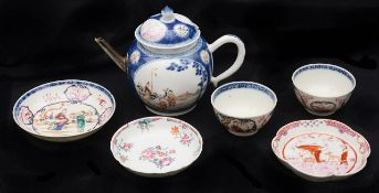 An 18th c. Chinese export famille rose porcelain teapot and cover; others