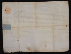 Queen Anne (1665-1714). A signed folio page document, ink on vellum,