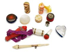 A collection of mostly 19th century sewing items