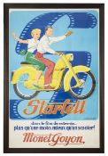 A large vintage Fr. advertising poster for the Monet Goyon Starlett motorcycle,