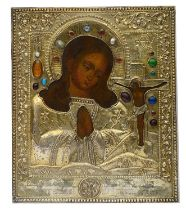 A Russian The Akhtyrskaya Mother of God silver-gilt icon