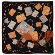 An Hermes silk and cashmere shawl 'Kelly et Caleche'