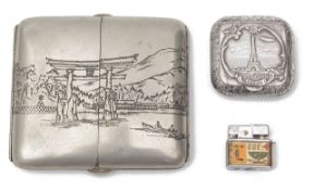 An early 20th century Japanese silver cigarette and mixed metal case