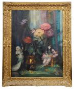 John Henry Amshewitz (Brit., 1882-1942) 'Still life with chrysanthemums', oil on canvas