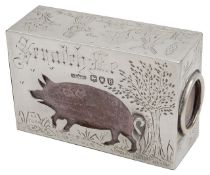 A late Victorian novelty silver match box cover