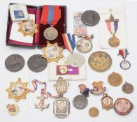 A collection of Edward VIII and George VI coronation medals, badges and and other items