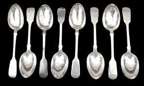 A set of eight Victorian fiddle pattern dessert spoons