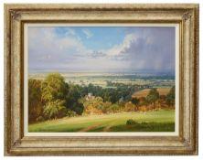 Christopher Osborne (Brit., b. 1947) 'Passing Showers, Poynings', oil on canvas