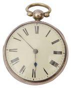 Vuillamy. A silver cased open faced cylinder fusee pocket watch