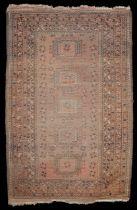 An early 20th century Turkoman Hatchli rug and an Afghan rug, (2)