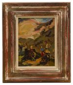 Continental school (20th c.), 'Figures in a landscape', oil on board, framed,