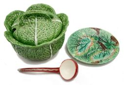 A Portuguese Faiancas Belo pottery majolica cabbage leaf tureen and cover