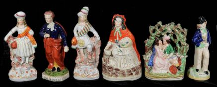 A group of 19th century and later Staffordshire flat back figures,