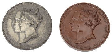 The opening of the Crystal Palace Sydenham, 1854 by GG Adams copper and and white metal medals