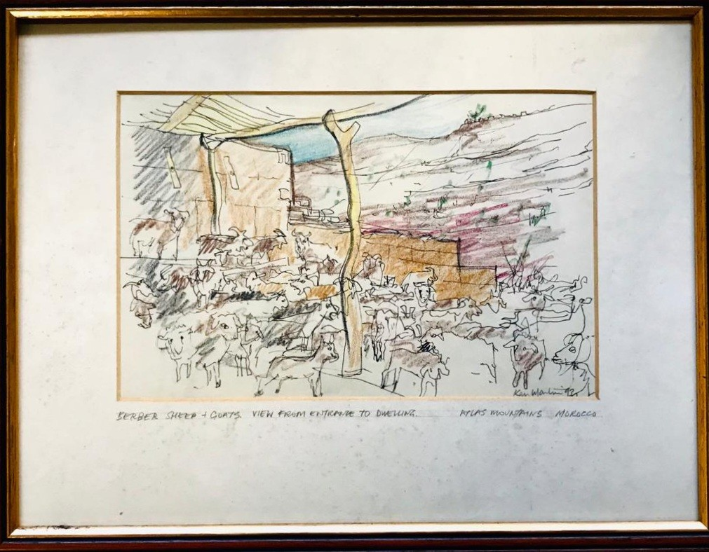 KEN MARTIN- 'BERBER SHEEP AND GOATS', 1993, INK DRAWING AND CRAYON, SIGNED LOWER LEFT, APPROXIMATELY