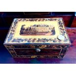 TUNBRIDGE WARE TOPOGRAPHICAL SEWING BOX AND CONTENTS, APPROXIMATELY 23 x 15 x 11cm