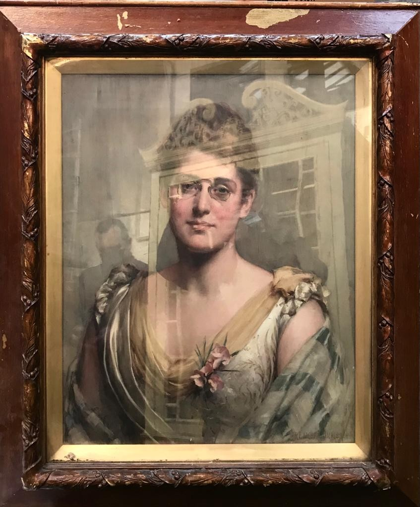 PORTRAIT OIL ON CANVAS OF MRS SAMUELSON OF LIVERPOOL SIGNED R E MORRISON, 1892. MRS SAMUELSON WAS