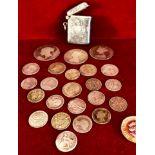 SILVER VESTA CASE, BIRMINGHAM ASSAY 1915, TWENTY-THREE SILVER COINS- QUEEN VICTORIA TO KING GEORGE