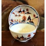 EARLY 19th CENTURY LIVERPOOL TEA BOWL AND SAUCER, POLYCHROME DECORATION