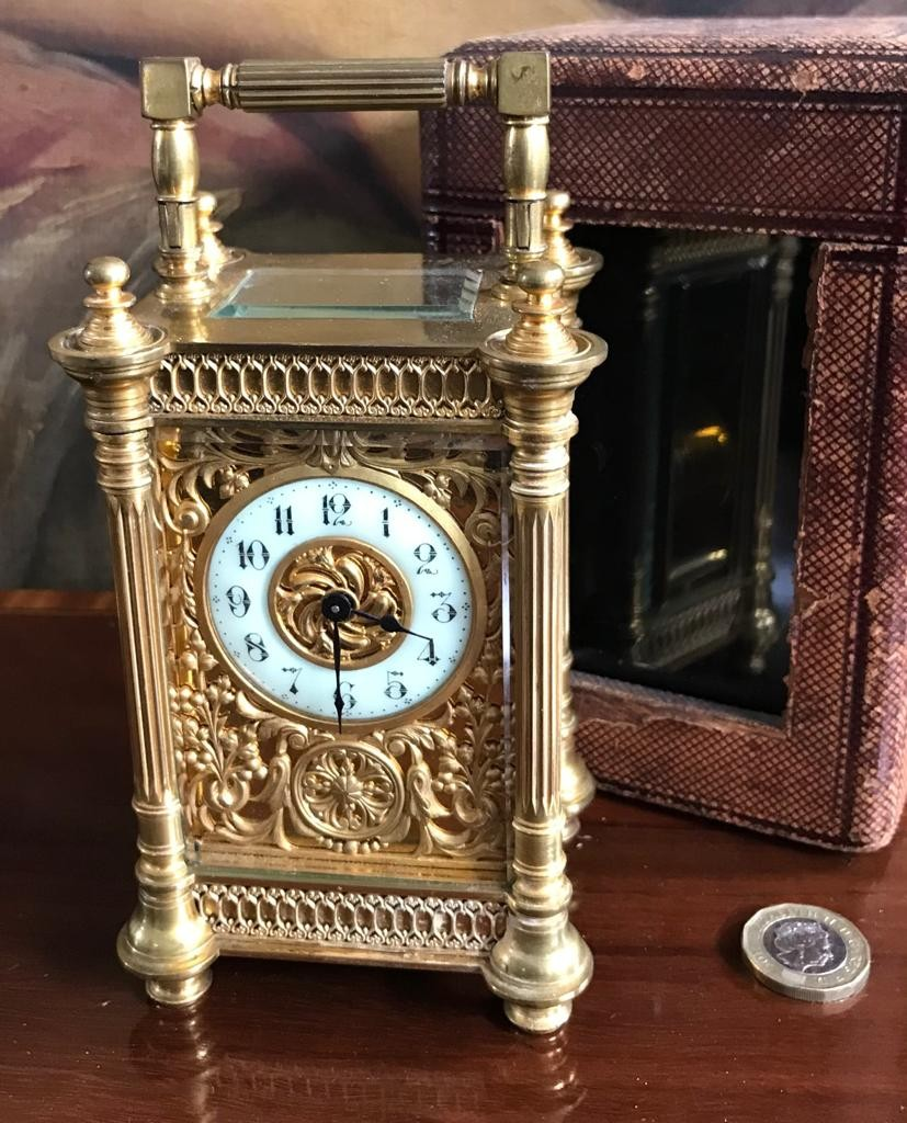 GOOD QUALITY FRENCH GILDED CARRIAGE CLOCK AND CASE, ENGRAVED 18th APRIL 'NELL' 1894