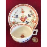 FINE MEISSEN CUP AND SAUCER, DECORATED WITH SUMMER FLOWER SPRAYS