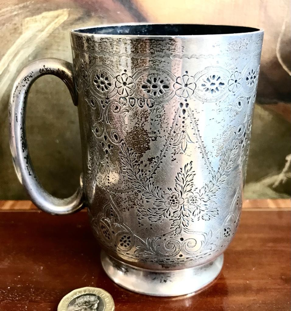 SILVER ENGRAVED TANKARD, ALSO INITIALLED, LONDON ASSAY 1882, WEIGHT APPROXIMATELY 150g