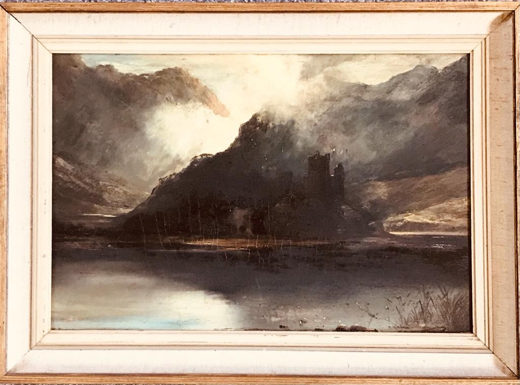 JOHN RUFELLFEOTH- 'URQUHART CASTLE', OIL ON BOARD, SIGNED REAR LABEL, APPROXIMATELY 29 x 43cm