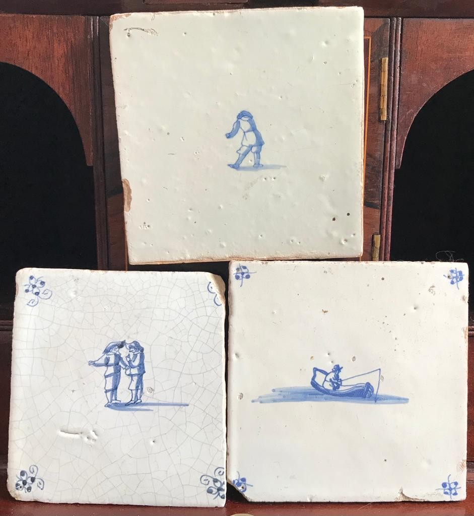 THREE EARLY DUTCH DELFT TILES, TWO APPROXIMATELY 12.5cm, ONE APPROXIMATELY 10.5 x 12.5m