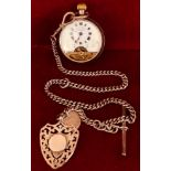 EBDOMAS PATENT SWISS MADE SILVER COLOURED POCKET WATCH AND SILVER CHAIN, WEIGHT APPROXIMATELY 46g