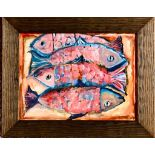 MARIE CORNER- 'FOUR FISH', ACRYLIC ON BOARD, UNSIGNED, APPROXIMATELY 22 x 29cm