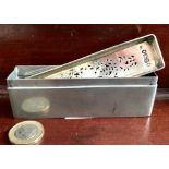 SILVER BOX WITH PIERCED COVER, LONDON 1854, ONLY COVER BEARS ASSAY MARKS, WEIGHT APPROXIMATELY 126g