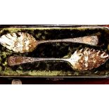 MATCHED PAIR OF FINELY ENGRAVED SILVER AND GILDED BERRY SPOONS IN CASE, MAKERS HS & TP, LONDON 1806,