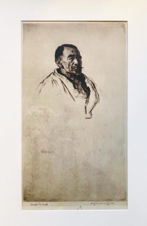 PORTRAIT OF JOSEPH CONRAD BY MUIRHEAD BONE, LITHOGRAPH, SIGNED LOWER RIGHT, APPROXIMATELY 32 x 18cm